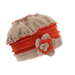 Bonnet Beret Femme Orange et Beige Polaire Deperlante Hiver Mode Syllia CHAPEAUX Léon montane
