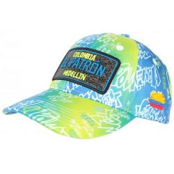 Casquette El Patron Jaune Fluo et Bleue Strass Streetwear Medellin Baseball CASQUETTES SKR