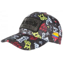 Casquette El Patron Noire et Rouge Strass Streetwear Colombia Baseball CASQUETTES SKR