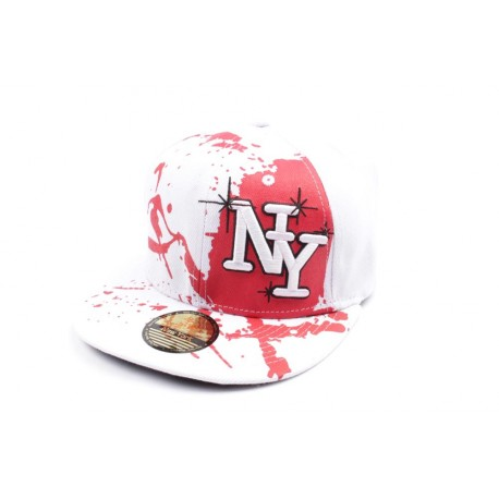Casquette Snapback NY blanche et rouge façon tag