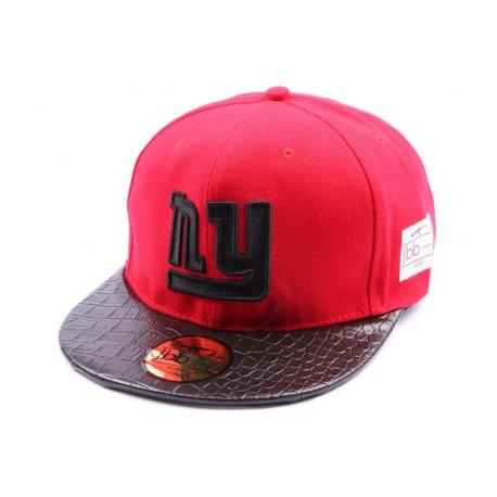 Snapback JBB Couture Rouge avec logo NY noir