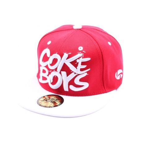 Snapback Coke Boys Rouge avec visière blanche