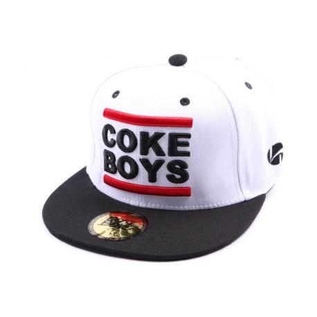 Snapback Coke Boys blanche avec visière noire