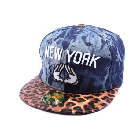 Casquette Snapback NY Façon Jean avec visièere leopard