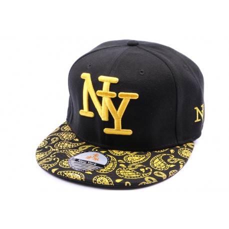 Casquette Snapback NY Noire et jaune