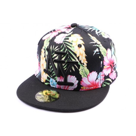 Casquette Snapback NY version florale avec visiere noire