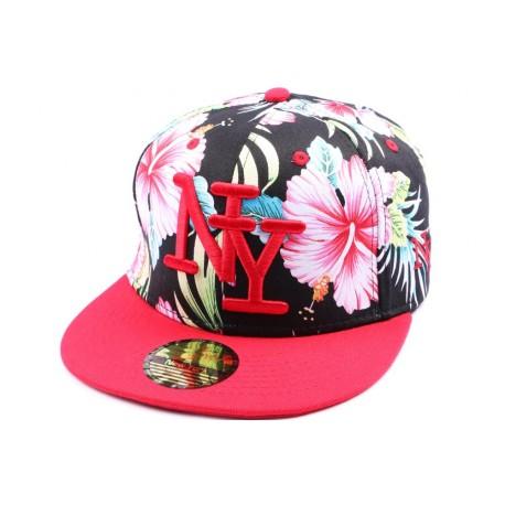 Casquette Snapback NY version florale visière rouge