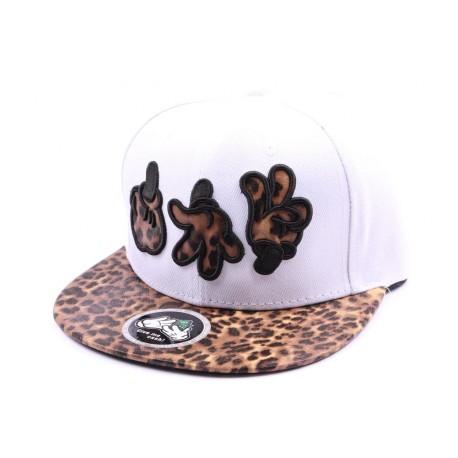 Casquette Snapback Hip Hop blanche avec visière léopard