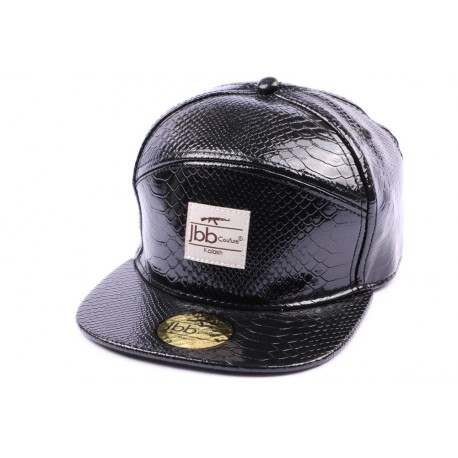 Casquette Snapback JBB Couture Noire Style Cuir Serpent