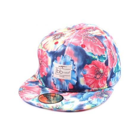 Casquette Snapback JBB Couture Florale Bleue Rouge