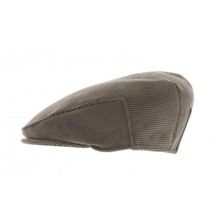 Casquette Plate Herman velour et similli cuir Marron