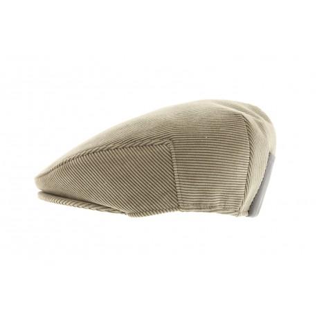 Casquette Herman en velours Beige avec faux cuir arrière