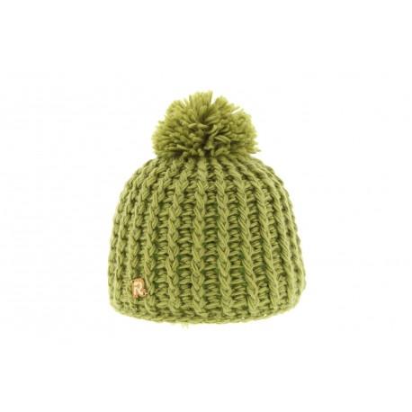 Bonnet Enfant Tricot oblique uni Vert