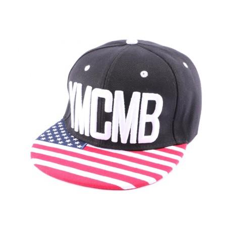 Casquette Snapback YMCMB Bleu visière Drapeau US