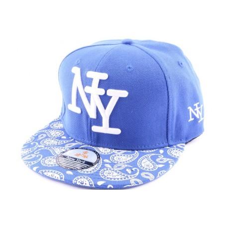 Casquette Snapback NY Bleu avec visière imprimée