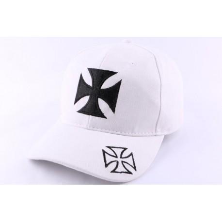 Casquette Biker Blanche avec croix de Malte Noire