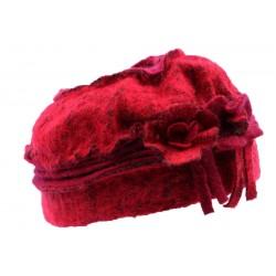 Toque en laine bouillie en coloris rouge