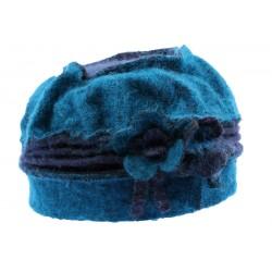 Toque femme en laine bouillie en coloris Vert et Bleu
