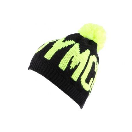 Bonnet YMCMB noir et jaune avec pompon