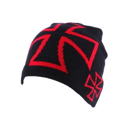 Bonnet Biker Noir avec de croix de malte rouge