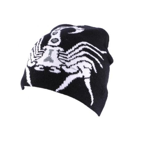 Bonnet Biker Noir avec Scorpion Blanc