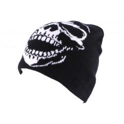 Bonnet Biker Noir avec tête de mort blanche BONNETS divers