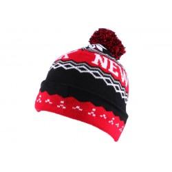 Bonnet NY Rouge et Noir avec pompon