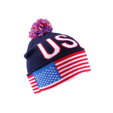Bonnet Bleu USA avec drapeau