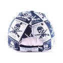 Casquette Biker en imprimé bleu et blanc