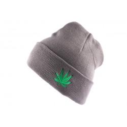 Bonnet à revers Gris Feuille de Cannabis