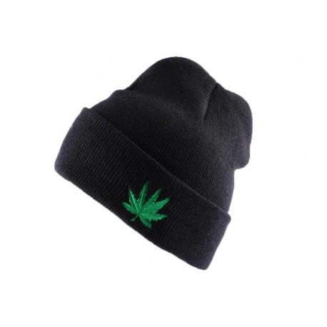 Bonnet à revers Noir Feuille de Cannabis