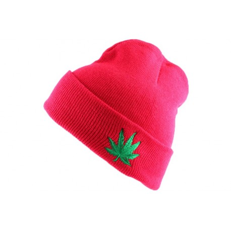 Bonnet à revers Rouge Feuille de Cannabis