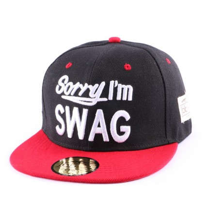 Casquette Snapback JBB Couture Sorry I'm SWAG noir et rouge