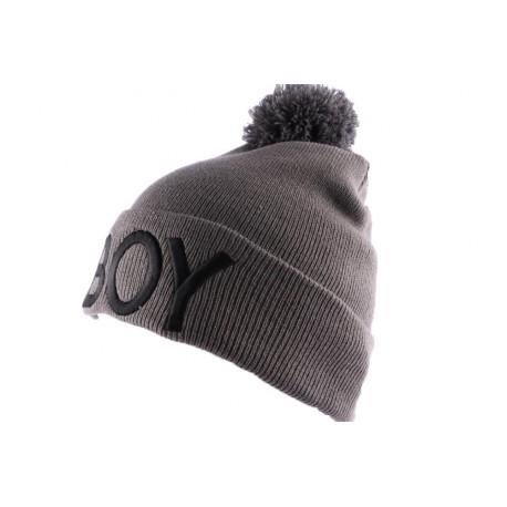 Bonnet Nyls Création Gris BOY avec pompon