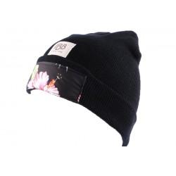 Bonnet JBB Couture Noir avec impréssion Florale BONNETS JBB COUTURE