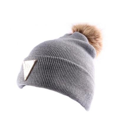 Bonnet NY gris avec pompon