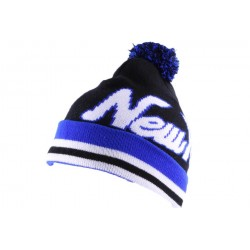 Bonnet NY Noir et Bleu avec pompon