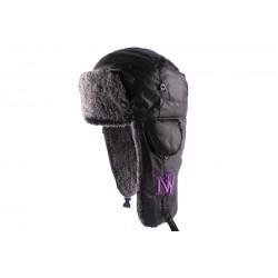 Chapka NY Noire avec broderie violette
