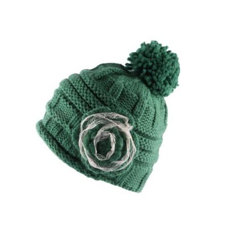 Bonnet à Pompon Lya Vert Dentelle Beige