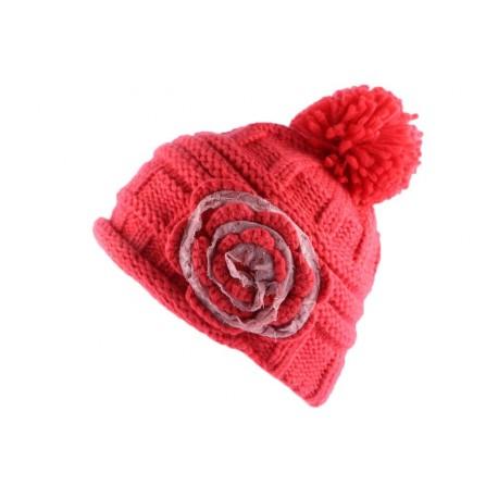 Bonnet Pompon Lya Rose Dentelle Rose