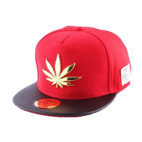 Snapback JBB Couture Rouge avec feuilles