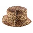 Bob NY en tissu léopard avec plaque dorée