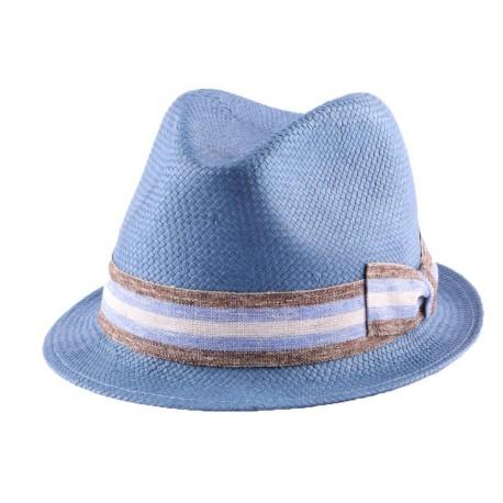Chapeau Billy en paille Toyo Bleu
