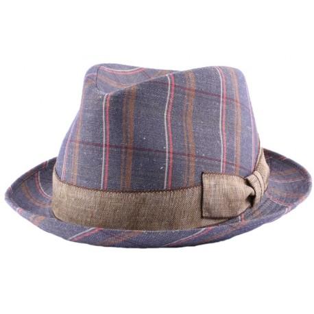Chapeau Brad en tissu carreaux Bleu