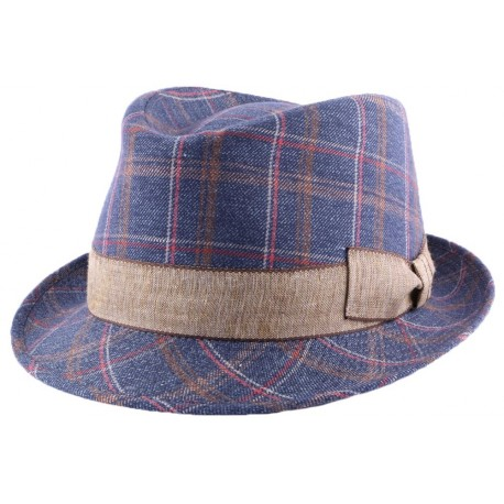Chapeau Grady en tissu bleu