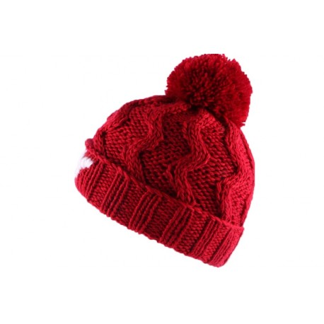 Bonnet à Pompon Winter NY Rouge