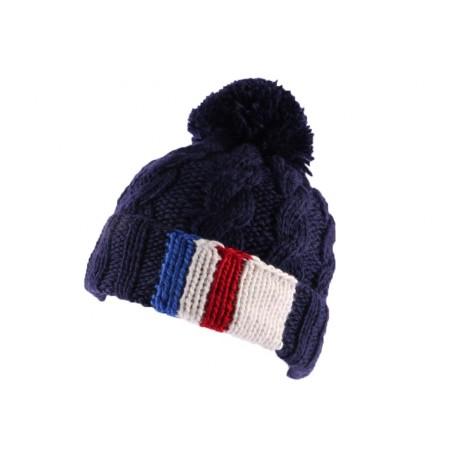 Bonnet à pompon Paris Bleu marine