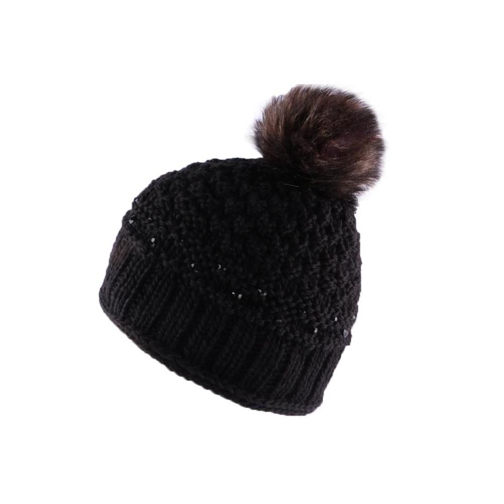 bonnet pompon perles noires bonnet fresca marque l on montane pour hatshowroom votre. Black Bedroom Furniture Sets. Home Design Ideas