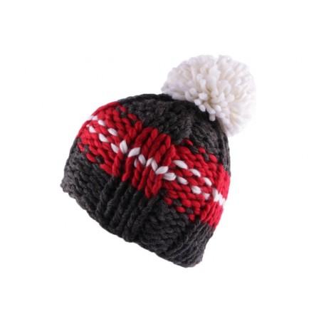 Bonnet à pompon Degel Gris Rouge