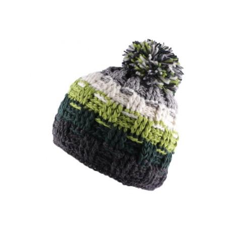 Bonnet à pompon Snow Gris Vert Blanc